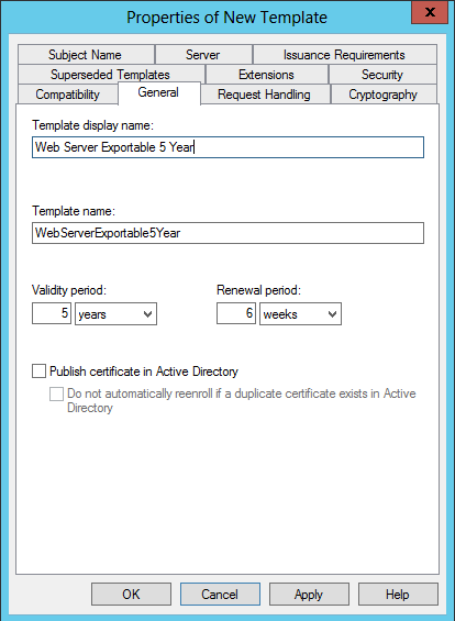 Creating a broadly compatible modern ssl certificate with active on the general tab give the template a name a display name and set the validity period to 5 years yelopaper Image collections