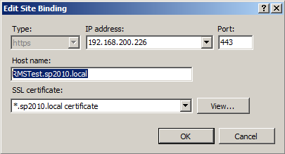 Editing the Host Name field for wildcard SSL certificate bindings in