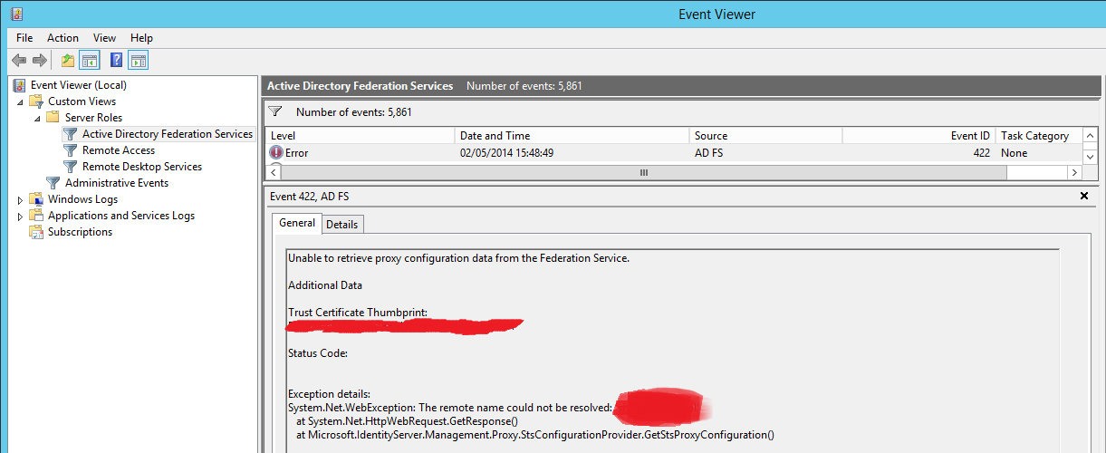 ADFSLostUrl1 Things that dont update when changing an AD FS URL in Windows Server 2012 R2