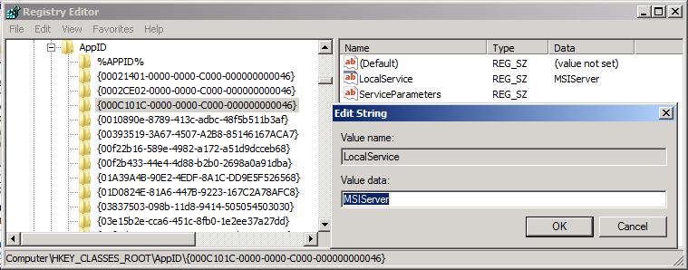 the machine default permission settings do not grant local activation permission