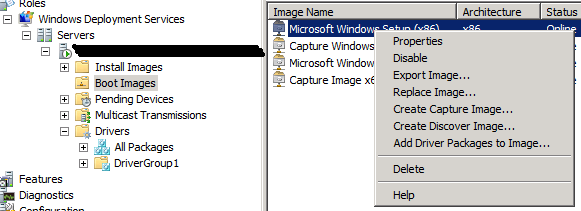 Adding Drivers to Windows Deployment Services Boot Images